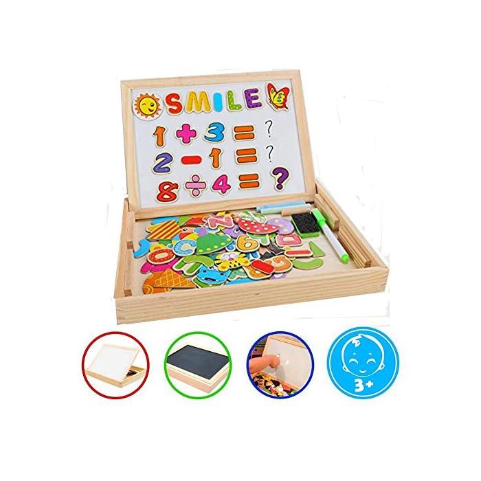 COOLJOY Magnetisches Holzpuzzles Puzzle-Spiele, Doppelseitiges Puzzle- und Zeichen-Staffelei, Kreidetafel, Lernspielzeug für Kinder (Digitales Muster)