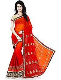 Texstile Women's Georgette Embroidered Orange AND Red Color Saree With Blouse Piece(Orange_red_saree)