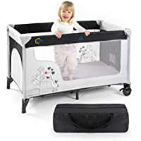 Fillikid Cuna de viaje para bebé jirafa - 120 x 60 cm, de 0 a 3 años | Cama plegable con colchón, bolsa de transporte, ruedas y entrada lateral