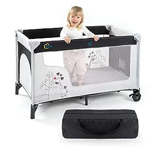 Fillikid Baby Reisebett Giraffe - klappbar, mit Rollen, Matratze, Transporttasche und seitlichem Einstieg