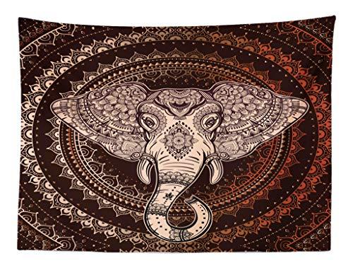 ABAKUHAUS Étnico Tapiz de Pared y Cubrecama Suave, Oriental Cabeza de Elefante en Mandala Círculo con Líneas Diseño Folk Tótem, para el Cuarto de Estar, 150 x 110 cm, Granate