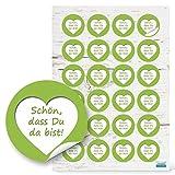 48 runde hellgrün weiß grün Aufkleber HERZ SCHÖN DASS DU DA BIST Text 4 cm selbstklebende Sticker Etiketten für Hochzeit Taufe Kommunion Fest Geburtstag Verpackung Deko Gastgeschenke give-away