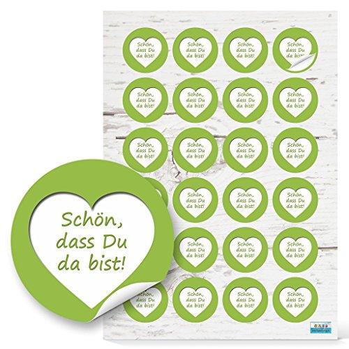 eiß grün Aufkleber HERZ SCHÖN DASS DU DA BIST Text 4 cm selbstklebende Sticker Etiketten für Hochzeit Taufe Kommunion Fest Geburtstag Verpackung Deko Gastgeschenke give-away ()
