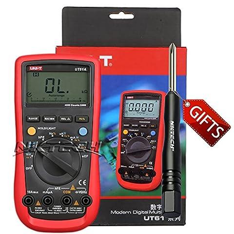 Nktech Tl-1Tournevis Uni-T Ut61a Gamme automatique True RMS multimètre numérique AC DC Tension courant Capacitance fréquence résistance Ncv rétroéclairage Voltmètre Ampèremètre Ohmmètre testeur Mètre