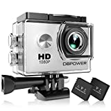 DBPOWER Action Camera impermeabile 1080P HD 12MP KIT 2 Batterie ed accessoristica varia (Bianco)