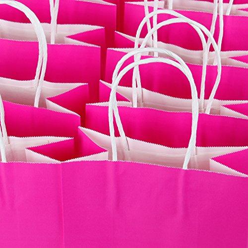 LaRibbons Kraft Papiertüten 24Pcs 21 x 11 x 27 cm Einkaufstasche, Kraft Taschen, Party Taschen, Fuschia Taschen mit Griffen (Tasche Verschönert)
