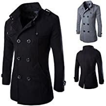 YYF Herren Kurzmantel Regular fit Normale Form Zweireiher Tweed Mantel warm  Winter Jacke Schwarz Grau 656e187134