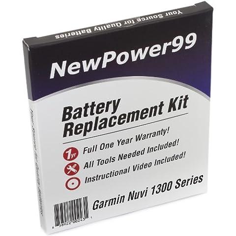 Kit de Reemplazo de la Batería para Garmin Nuvi 1300 Serie (Nuvi 1300, 1310, 1340, 1350, 1370, 1390, 1390T) GPS con Video de Instalación, Herramientas y Batería de larga