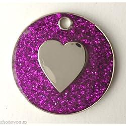 Pour chien ou chat Motif cœur Violet Pailleté Médaille d'identification gravée