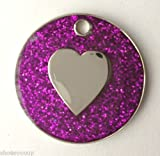 Personalised DOG CAT LOVE HEART PURPLE Glitter Identity ID Pet Tag Engraved