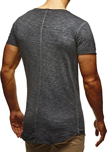 48e19979870e Anthrazit LEIF NELSON Herren T-Shirt Basic Rundhals Kurzarm oversize Shirt  Verwaschen LN6353 Verw. Anthrazit