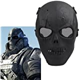 Ecloud Shop 2 pieces Black Army Skull Skeleton Airsoft Paintball BB Gun Game Face Mask