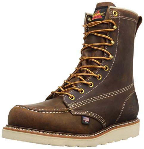 Thorogood Mens 8 Inch Moc Toe Safety Toe 804-4478 Leather Boots Braun