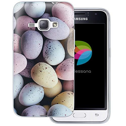 dessana Candy Süßigkeiten Transparente Schutzhülle Handy Case Cover Tasche für Samsung Galaxy J1 (2016) Oster Eier