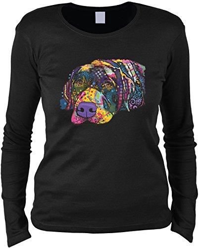 Damen Langarmshirt mit Motiv: Savvy Labrador - Hundemotiv - Geschenk - Pullover, Pulli - Farbe: schwarz Schwarz