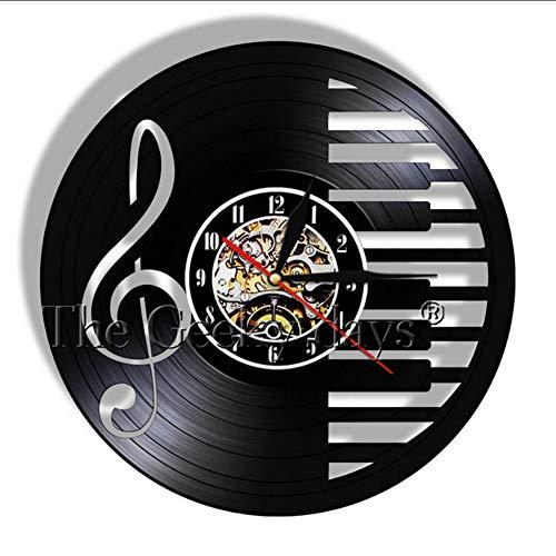 TIANZly Musik Merkt Vinylaufzeichnungsuhr Handgemachte Klavier-Partei-Wandkunstdekorationuhr Violinschlüssel-Symbolmusikschattenbild-Raumkunst Raumdekoration (Aus Dem Klavier-musik Film Halloween)