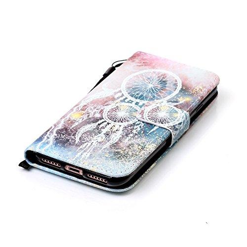iPhone 7 Flip Ledertasche, Muster Book Case Cover für iPhone 7, Aeeque® Slim [Standfunktion Kartenfach] Malerei Feder Vögel Bilder Leder Handy Tasche Klappetui Lederhülle Brieftasche Campanula Weiß