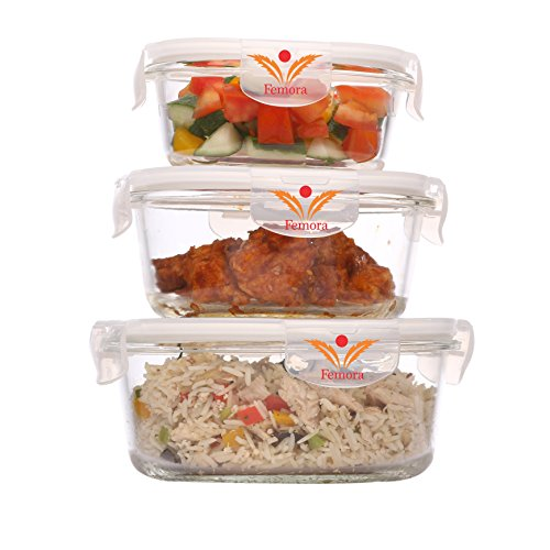 Femora Borosilicate Rectangular Glass Food Storage Container with Air Vent Lid-Set of 3 pcs, Microwave Safe, Air Tight, Leak Resistant- 1 Year Warranty