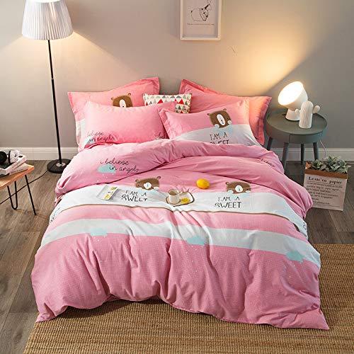 yaonuli Jetzt einfache Dicke Baumwolle Köper Schleifen Vier Sätze von aktiven Druck und Färben trägt Paradies Puder Bettbezug 220 * 240