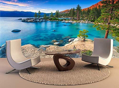 BHSWD Größe 3D Fototapete Lake Tahoe at Sunse Abnehmbare Tapeten Selbstklebende Vinyl Wandkunst Wohnkultur Mural-500 * 320 cm - Tahoe Schlafzimmer