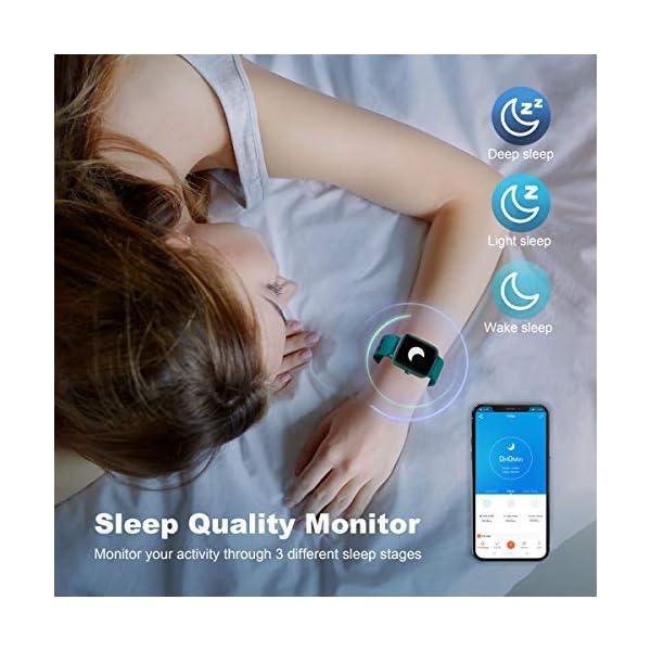 Arbily Reloj Inteligente Pantalla Táctil Completa Pulsera de Actividad Smartwatch Mujer Hombre Niño Reloj Deportivo a Prueba de Nadar Impermeable Podómetro Monitor de Sueño para iOS Android (Azul) 5