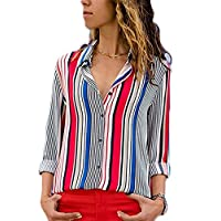 Blibea Womens Ladies Spring Fall Shirts V Neck Button Up Chiffon Blouses Collared 3 4 Sleeve Striped Tunic Tops Medium Red