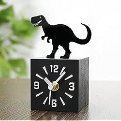 CHLWW Creatividad Personalidad Diversión Parque Jurásico En Tres Dimensiones Dinosaurios La Imitación Cuadrado Madera Texturas Reloj