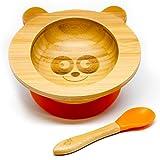 Baby Schüssel aus Bambus mit rutschfestem Saugnapf und passendem Babylöffel, verschiedene Tiermotive, perfekt als Geschenkset (Panda)