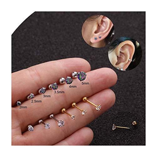 20G Edelstahl Cartilage Piercing Ohrringe Cz 3 Prong Tragus Cartilage-Ohr-Bolzen-Kristall Zircon Ohrringe Piercing Schmuck, Silbrig, 4 mm