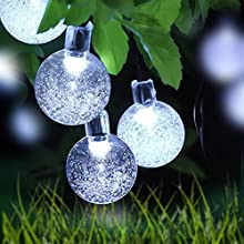 Outdoor temporizador battery String Lights, loende battery Opera Ted Powered 8 Mode 30 LED Balls 6.4 m/21 FT Warm White Waterproof Decorative Christmas Fairy Globe Light for Indoor Party, Wedding, Decoration, Patio,