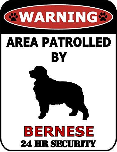 Top Shelf Novelties Warnschild SP568 mit Aufschrift Warning Area Patrold von Berner Mountain Dog 24 Hour Security (Silhouette), laminiertes Hundeschild, inkl. I Love My Dog-Aufkleber -