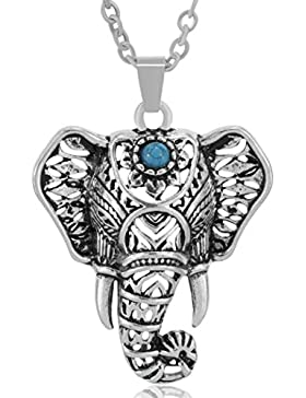 MESE London Elefant-Kopf-Halskette Boho Silber Kette Türkis-Anhänger - Elegante Geschenkbox