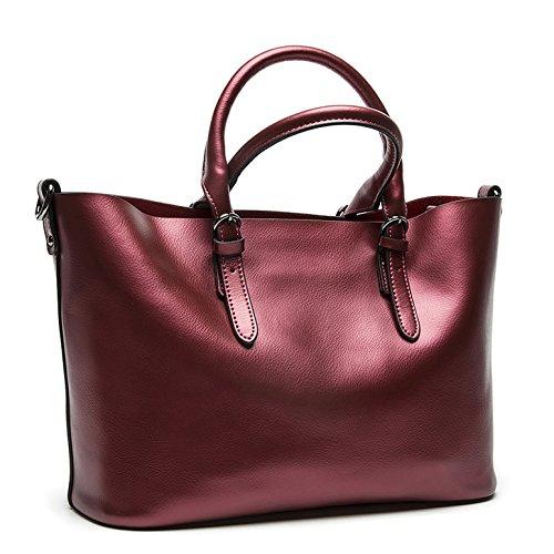 Valin Q0604 deman Leder Handtaschen Top Handle Satchel Tote Taschen Schultertaschen ,34x23.5x16.5cm (B x H x T) Rot