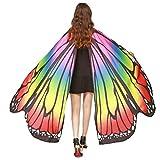 ❤️schmetterling kostüm, KOBAY Frauen Weiches Gewebe Schmetterlingsflügel Schal Fee Damen Nymph Pixie Kostüm Zubehör für Show/Daily / Party (168 * 135CM, Mehrfarbig)