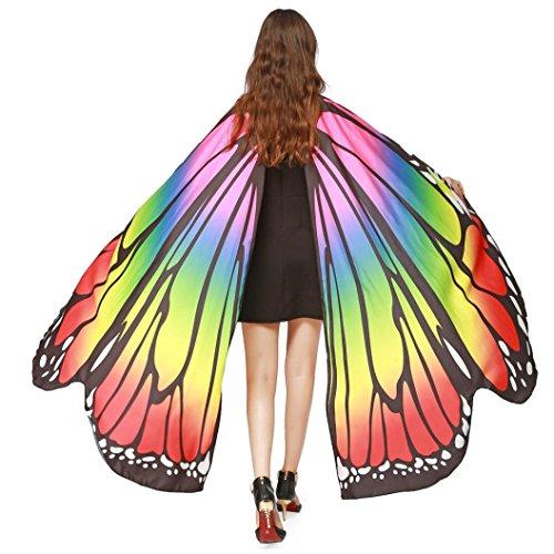 ❤️schmetterling kostüm, KOBAY Frauen Weiches Gewebe Schmetterlingsflügel Schal Fee Damen Nymph Pixie Kostüm Zubehör für Show/Daily/Party (168 * 135CM, Mehrfarbig) (Weichen Schmetterlingsflügel Kostüm)