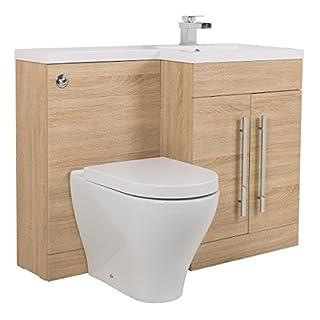 Aquariss Light Oak RH Combi Bathroom Furniture Vanity Unit Suite + Sink + Cordoba Toilet