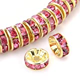Beadnova Gold Plated Rhinestone Crystal Rondelle Spacer Beads 6mm 8mm 10mm Various Color #209 Rose/08mm AD