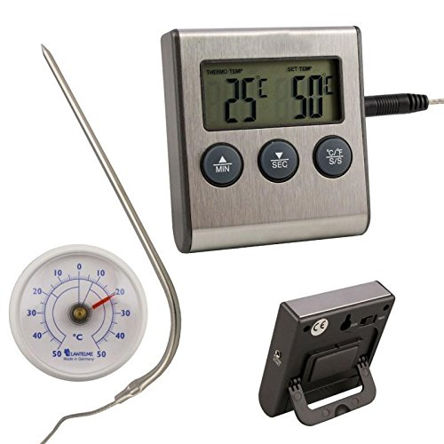 Digital Backofen - Thermometer mit Einstich Fühler Temperaturbeständig bis 250 °C . Alarm , Timer Funktion , Magneten und Ein - Aus Schalter und universal Analog Thermometer als Set