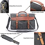 Oflamn Mens Laptop Messenger Bag Genuine Leather Laptop Bag Canvas Satchel Bag Briefcase 14 inch and 15.6 inch