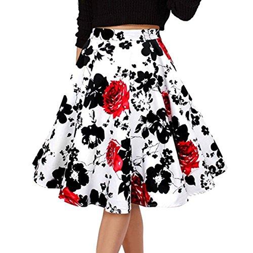 YiLianDa Damen Rock Plissee Vintage Röcke Rockabilly Polka Dots Sommerrock Strand Rock Blume L