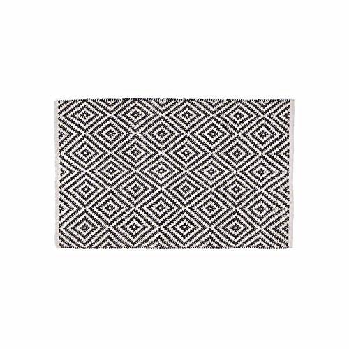 Black Velvet Studio - AlfombraKenya100%algodón,ColorNegroyBeige.TejidaconNudocreandounEstampadogeométrico.110x70cm