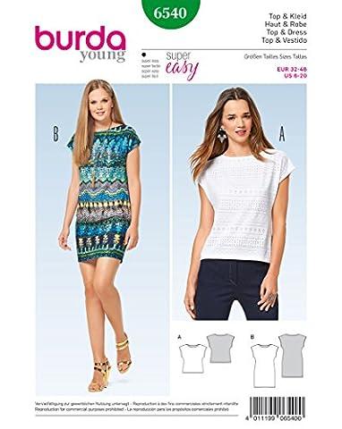 Burda 6540 Schnittmuster Top & Kleid ärmellos (Damen, Gr. 32 - 46) Level 1 super easy