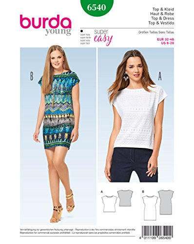 Burda 6540 Schnittmuster Top & Kleid Årmellos (Damen, Gr, 32 - 46) Level 1 super easy
