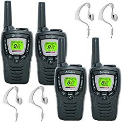 8Km Cobra MT645 Two Way PMR 446 Walkie Talkie Licence Free Radio + 4 x Comtech CM-15PT PTT Handsfree Headsets - Quad pack, [Importado de UK]