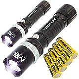LED Power Taschenlampe Abwehrtechnik Extream Strobo mit extrem heller Leuchtkraft Black Scheinwerfe Taschenlampen für Freizeit oder Handwerk Outdoor Sports (2 Stück) r