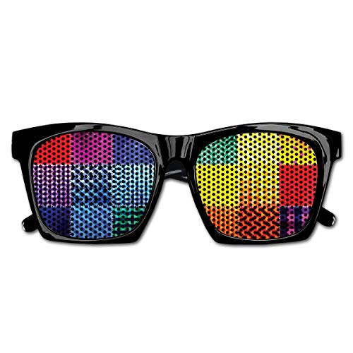 EELKKO Mesh Sunglasses Sports Polarized, Rainbow Colored Square Shaped Diverse Patterns with Diagonal Forms Geometric,Fun Props Party Favors Gift Unisex