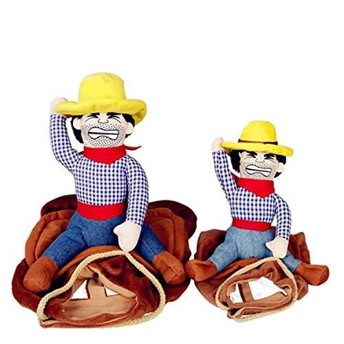BIGBOBA lustige Kostüme für Hund Katze Cowboy Kleidung für Hunde mit Puppen, L