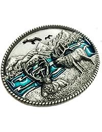 3659b0559029 MagiDeal Vintage West Boucle de Ceinture en Alliage de Zinc Renne Motif Boucle  Accessoire Man