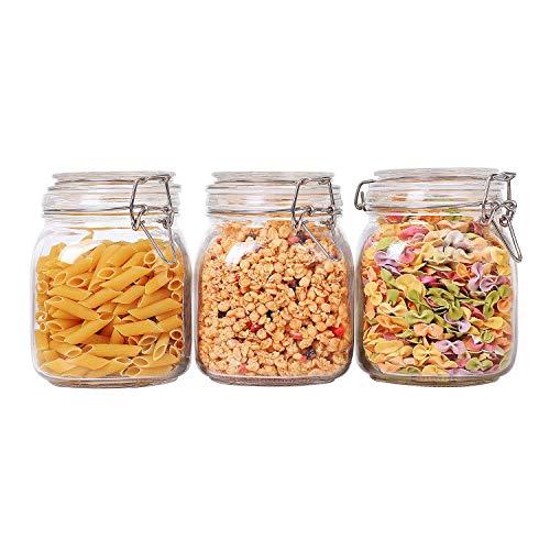 Comsaf 1000ml barattoli di vetro con coperchio set di 3, barattolo vaso ermetico di conservazione degli alimenti contenitori per cucina cereali porta biscotti scatola farina e zucchero
