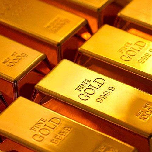 Dotters Goldbarren Türstopper, 1kg glänzend Fake Gold Bar Gold Türstopper Türkeil Gold Papier Gewicht für Home Office Dekoration